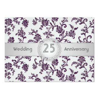 Purple Damask flowers, 25th Wedding Anniversary Card