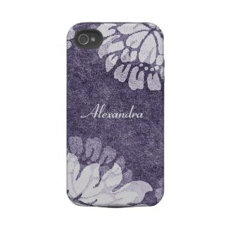 purple damask flowers case iphone 4 tough covers