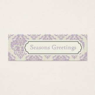 Purple Damask Gift Tags, Profile Cards