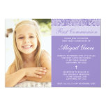 Purple Damask Girl Photo First Communion 5x7 Paper Invitation Card