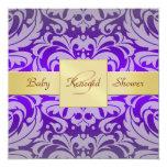 "Purple Damask Gold Ribbon Baby Shower Invitation 5.25"" Square Invitation Card"