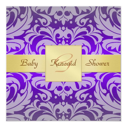 Purple Damask Gold Ribbon Baby Shower Invitation