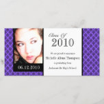 """Purple Damask Graduation Announcement Photo Cards<br><div class=""""desc"""">Our purple damask pattern graduation announcement photocards are right on trend. Celebrate your achievement in your own style with these custom graduation announcement cards. Classy yet modern style will stand out! Each card comes with an envelope. Printed on quality paper in vibrant colors. &#169; 2010 Sublime Stationery All Rights Reserved...</div>"""