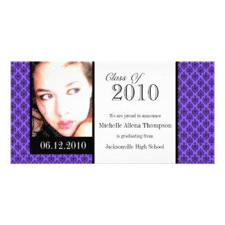 Purple Damask Graduation Announcement Photo Cards