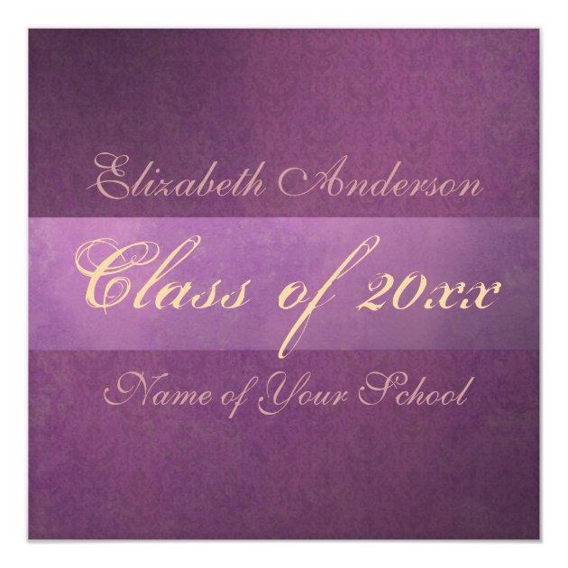 Purple Damask Grunge Graduation Announcement (back side)