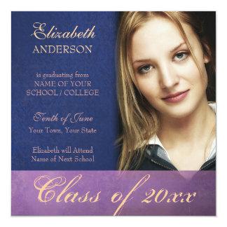 Purple Damask Grunge Graduation Announcement