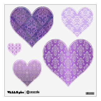 Purple Damask Hearts Wall Decals
