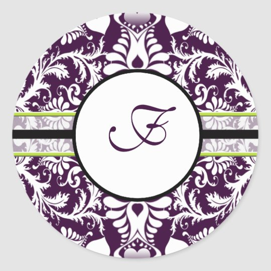 Purple Damask Initial Sticker Letter F Wedding