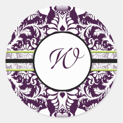 Purple Damask Initial Sticker Letter W Wedding