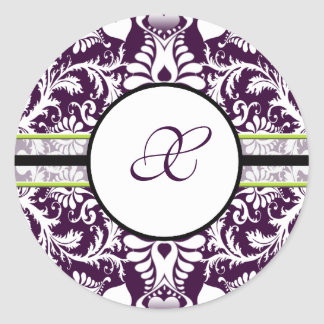Purple Damask Initial Sticker Letter X Wedding