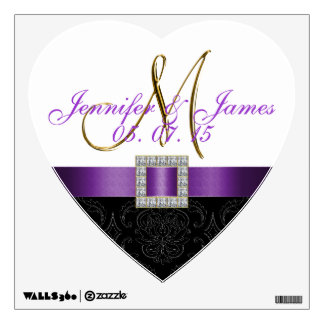 Purple Damask Initial Wedding Wall Decal