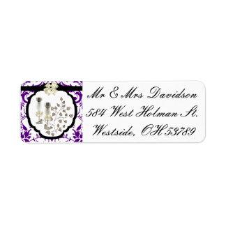 Purple Damask Invitation Address Label