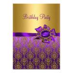 Purple Damask Jewel Birthday Party Invitations