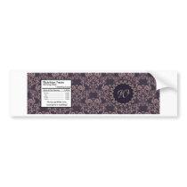 Purple Damask Lace Wedding Bottle Label