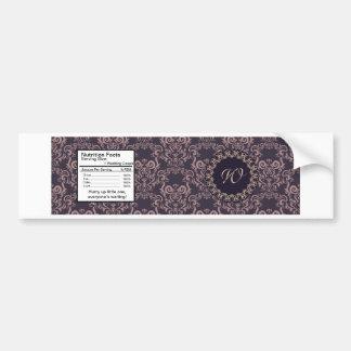 Purple Damask Lace Wedding Bottle Label Bumper Sticker