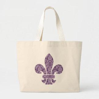 Purple Damask Large Tote Bag