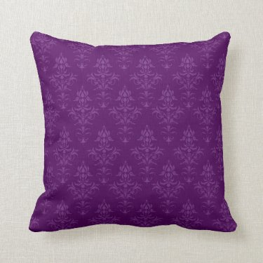 Purple Damask Look Cushion Pillows