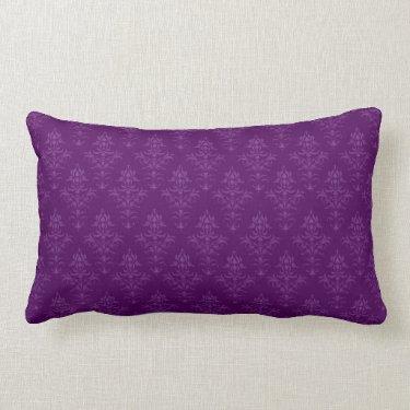 Purple Damask Look Cushion Throw Pillows