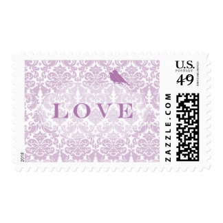 Purple Damask Love Birds Postage