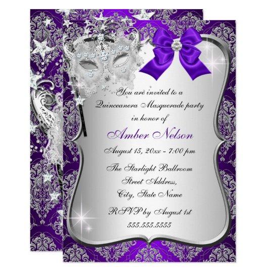 Purple Damask Mask Quinceanera Masquerade Invite