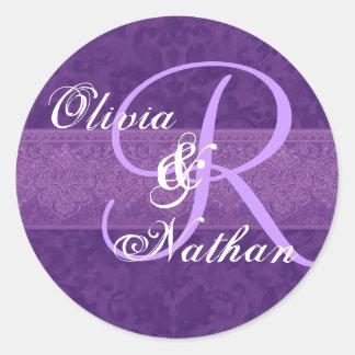 Purple Damask Monogram Custom Wedding Sticker