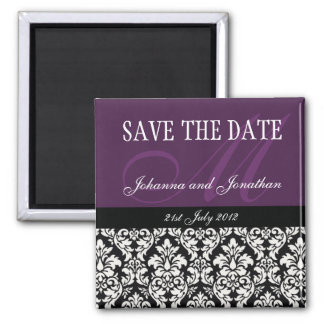 Purple Damask Monogram Save The Date Magnets