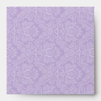 Purple Damask Monogram Square Envelopes