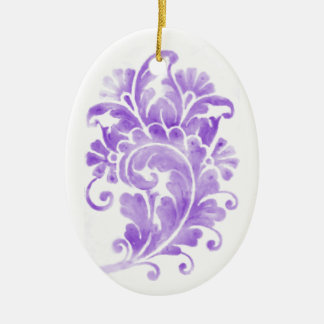 Purple Damask Motif Christmas Ornament