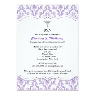 Purple Damask Nurse graduation pinning invites