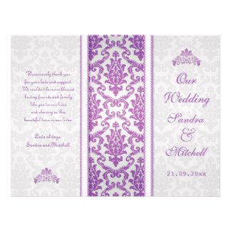 Purple damask on silver Wedding Program