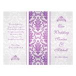 Purple damask on silver Wedding Program Flyers