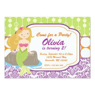 Purple Damask, Orange Polka Dot, Mermaid Birthday 5x7 Paper Invitation Card