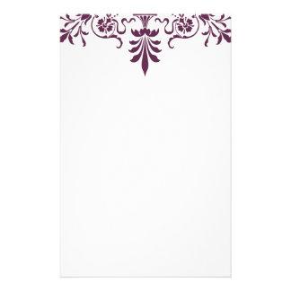 purple damask ornamental design stationery