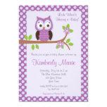 "Purple Damask Owl Baby Shower Invitation 5"" X 7"" Invitation Card"