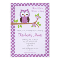 Purple Damask Owl Baby Shower Invitation