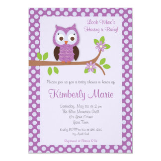 Captivating Purple Damask Owl Baby Shower Invitation