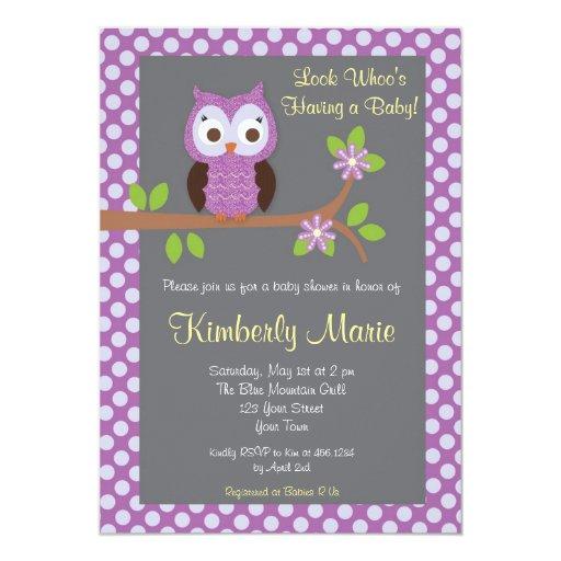 purple damask owl baby shower invitation zazzle