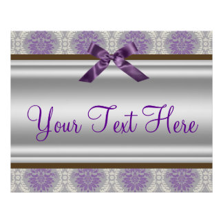 Purple Damask Party Banner Poster