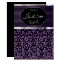 Purple Damask Party Celebration Invitation