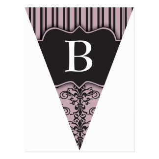 Purple Damask Party Flag Bunting Banner Postcard