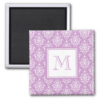Purple Damask Pattern 1 with Monogram 2 Inch Square Magnet