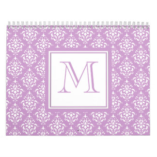 Purple Damask Pattern 1 with Monogram Calendars