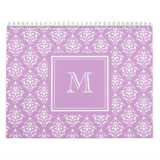 Purple Damask Pattern 1 with Monogram Calendar