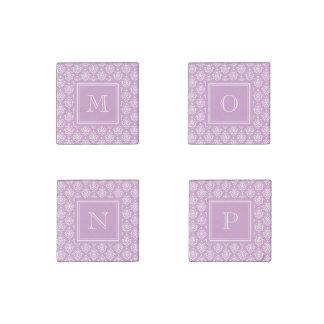 Purple Damask Pattern 1 with Monogram Stone Magnet