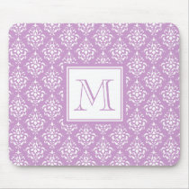 Purple Damask Pattern 1 with Monogram Mouse Pad