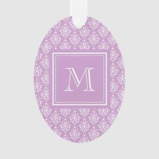 Purple Damask Pattern 1 with Monogram Ornament