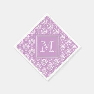 Purple Damask Pattern 1 with Monogram Disposable Napkins