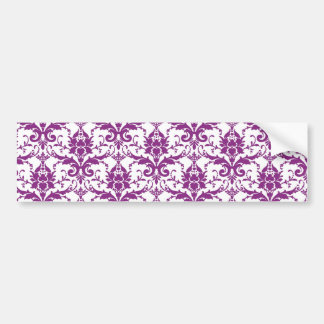 Purple Damask Pattern Bumper Sticker