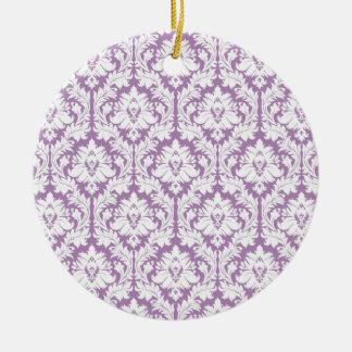Purple Damask Pattern Ceramic Ornament