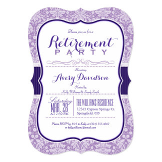 Purple Damask Pattern; Elegant Retirement Party Card